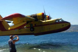 Firefighter seaplane crash-landed near the fire Greece