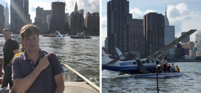 Lucky seaplane accident in Manhattan on the East River