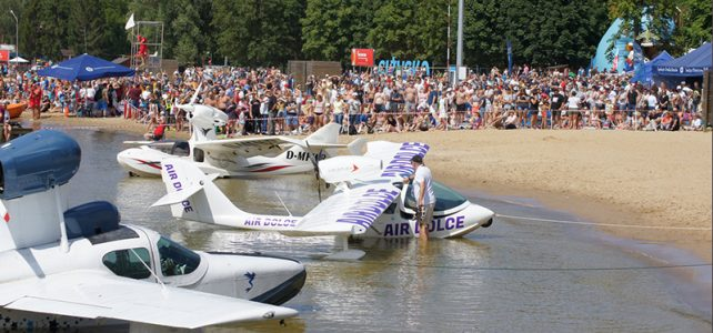 Small seaplanes at Mazury Airshow